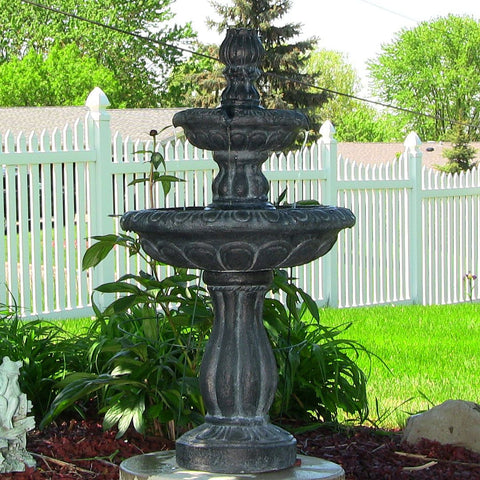 Sunnydaze Two Tier Tulip Solar-on-Demand Fountain, Black Finish - ZenWaterFountains.com  - 1