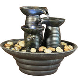 Three Pillars Pouring Table Fountain w/ LED Lights