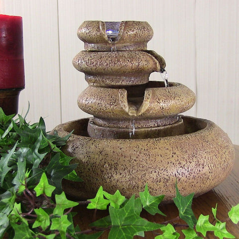 Three Tier Flowing Tabletop Fountain w/ LED Lights - ZenWaterFountains.com  - 1