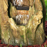 Tree Trunk Falls Fountain w/ LED Lights