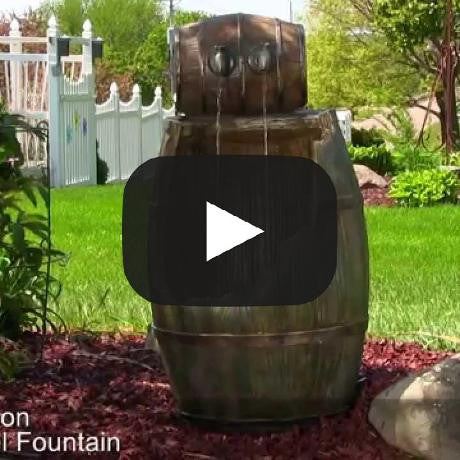Old Time Saloon Barrel Fountain w/LED Lights