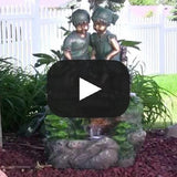 Children Discovering Nature Outdoor Water Fountain with LED Light