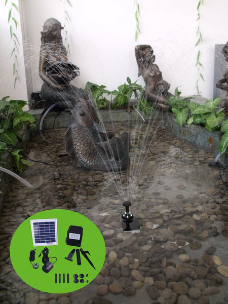 "Solar Pump and Solar Panel Kit With Battery Pack and LED Light - 48"" Head"