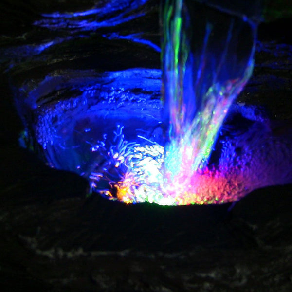 Sunnydaze Five Stream Rock Cavern Tabletop Fountain with Multi-Colored LED Lights