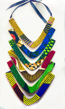 Load image into Gallery viewer, Let your inner queen shine through in this cascading waterfall neckpiece, handmade with African print. Elegant and Stylish for all seasons