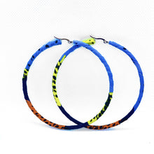 Load image into Gallery viewer, Handmade African Print hoop earrings. This classic hoop earrings with a modern african twist is perfect for both day and night time style.