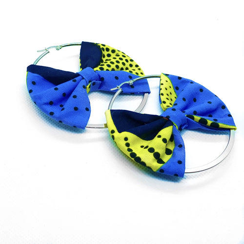 African print hoop earrings with bow