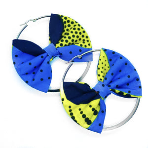 Classic hoop earrings with Ankara African print bow