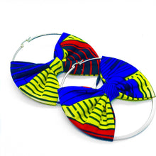 Load image into Gallery viewer, African print hoop earrings with bow