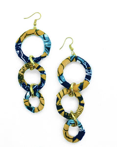 Handmade African Print link earrings. These drop earrings are perfect for every occasion