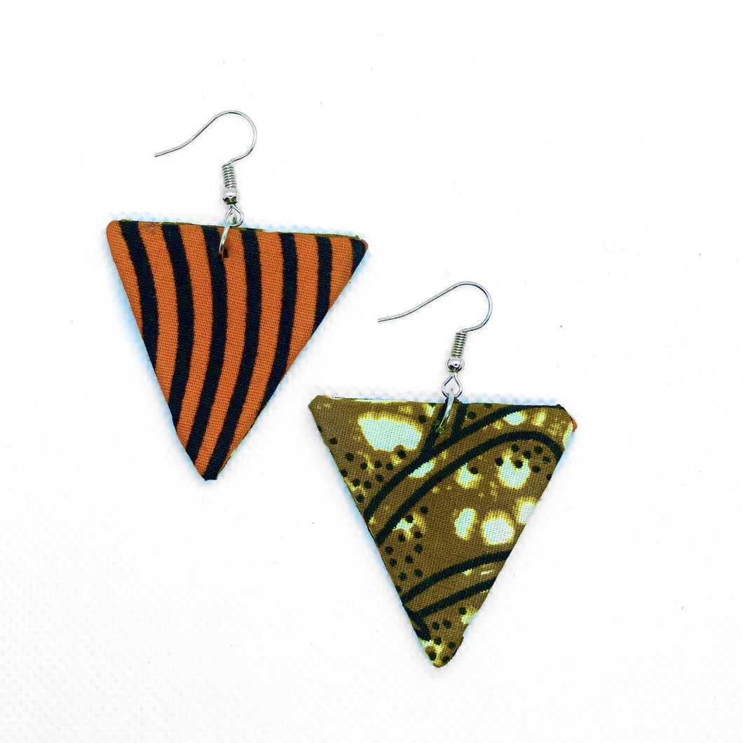 Minimalist chic drop earrings handmade with African fabric