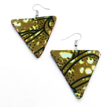 Load image into Gallery viewer, Minimalist chic drop earrings handmade with African fabric