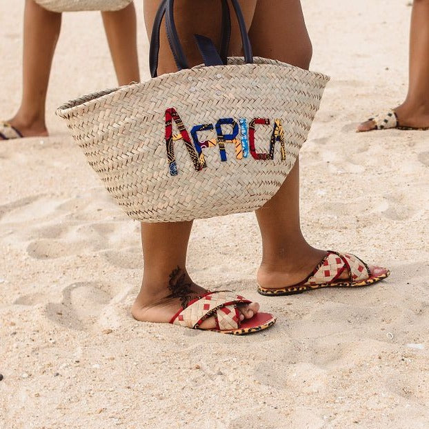 Africa Woven Rattan Bag with African Print Lettering