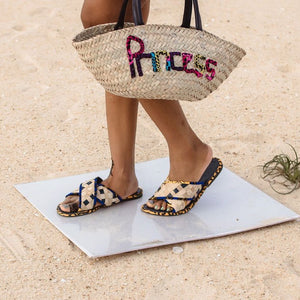 Princess Woven Rattan Bag with African Print Lettering