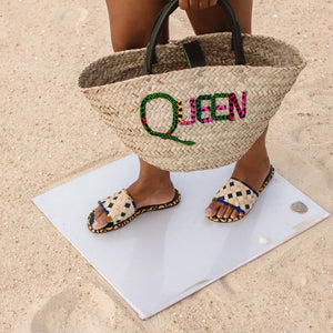 Queen Woven Rattan Bag with African Print Lettering