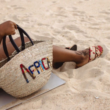 Load image into Gallery viewer, Africa Woven Rattan Bag with African Print Lettering