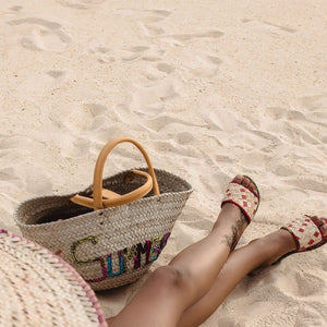 Summer Woven Rattan Bag with African Print Lettering | Shop Ekete