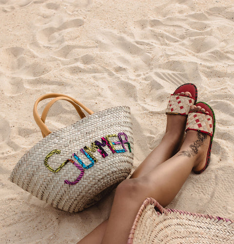 Summer Woven Rattan Bag with African Print Lettering