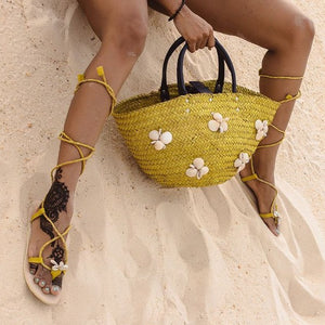 Seashell Woven Rattan Bag - Yellow