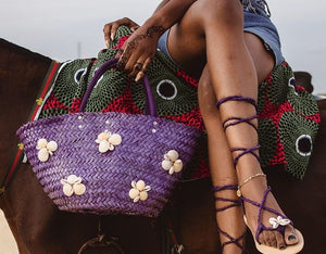Seashell Woven Rattan Bag - Purple