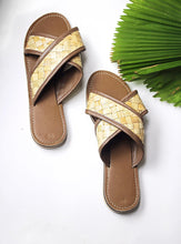 Load image into Gallery viewer, Handmade leather and rattan woven slides. Vacation ready, summer perfect!