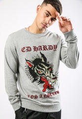 BIG-BAD CREW NECK SWEATSHIRT - GREY MARL