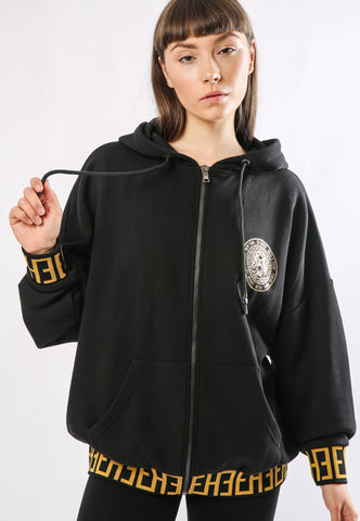 BIG-TOUR ZIP HOODY OVERSIZED HOODY - BLACK