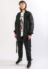 DRAG-CLOUD LONG LINE BOMBER JACKET - BLACK