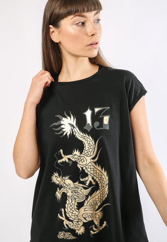 DRAGON-13 DIP HEM TEE - BLACK - Image 2