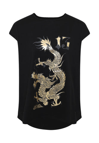 DRAGON-13 DIP HEM TEE - BLACK