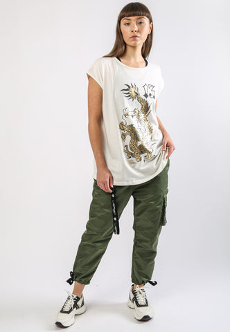 DRAGON-13 DIP HEM TEE - WHITE - Image 2