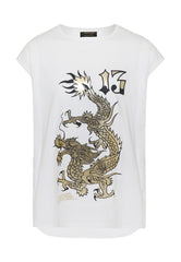 DRAGON-13 DIP HEM TEE - WHITE - Ed Hardy Official