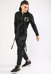 DRAGON-13 ZIP THRU FLEECE SWEAT HOODY - BLACK