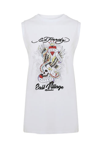 EAST-VILLAGE LONG VEST TOP - WHITE - Image 2