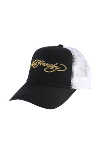 ED-SIGNATURE TWILL FRONT MESH TRUCKER - BLACK/WHITE