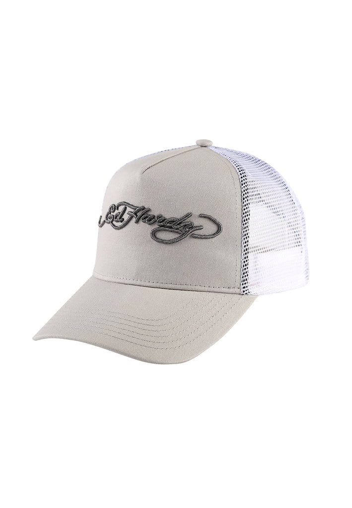 ED-SIGNATURE TWILL FRONT MESH TRUCKER - CHINCHILLA/WHITE