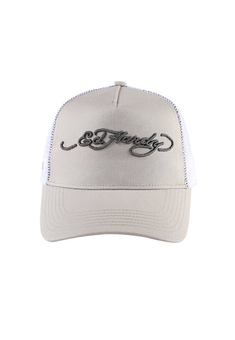 ED-SIGNATURE TWILL FRONT MESH TRUCKER - CHINCHILLA/WHITE - Image 2