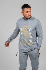 GOLD ROAR CREW SWEAT-GREY MARLE - Ed Hardy Official