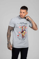 KING SNAKE T SHIRT-GREY MARLE - Ed Hardy Official