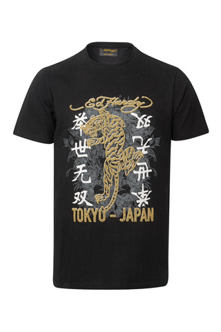 GOLD TIGER T SHIRT-BLACK