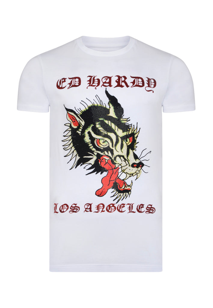 LA-WOLF T-SHIRT - WHITE - Ed Hardy Official