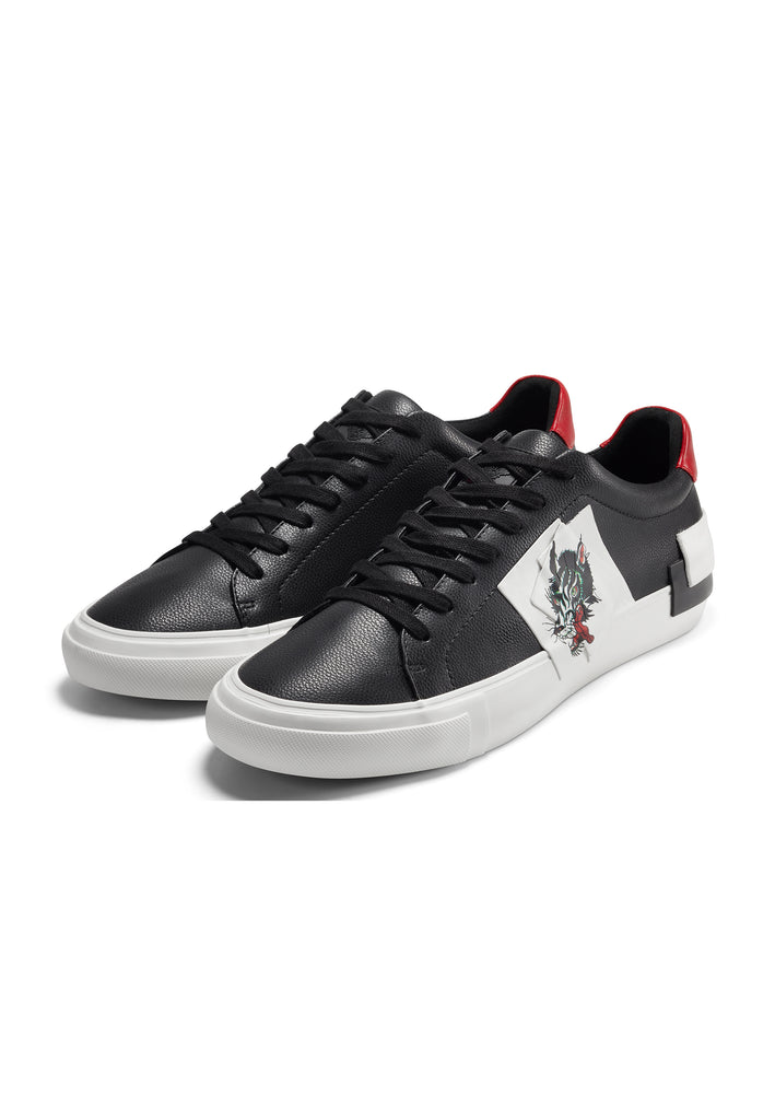 PATCH-ED LOW TOP-WOLF - BLACK/WHITE