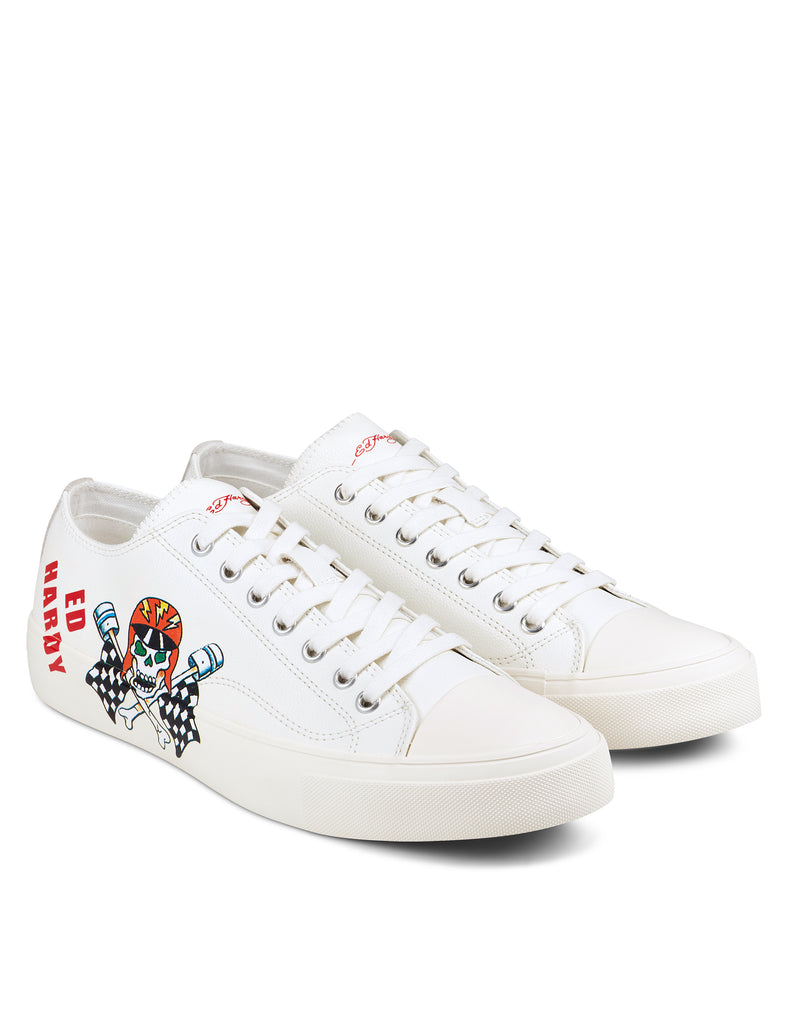 RACER LOW TOP-WHITE - Ed Hardy Official