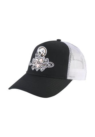 SKULL-HEART TWILL FRONT MESH TRUCKER - BLACK/WHITE
