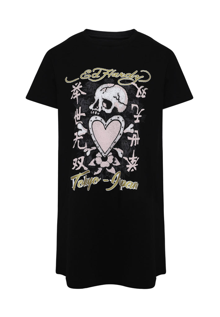 SKULL-PINK T-SHIRT DRESS - BLACK