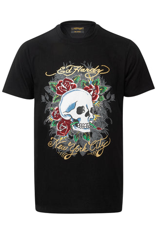 SKULL ROSE CAVIAR T SHIRT-BLACK
