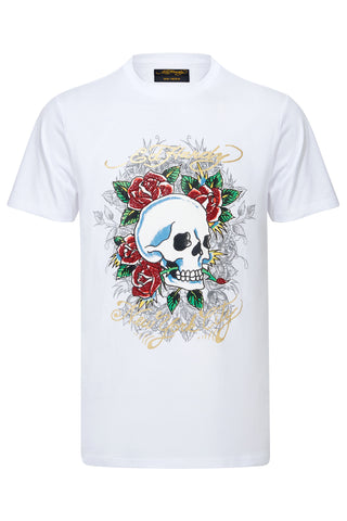 SKULL ROSE CAVIAR T SHIRT-WHITE