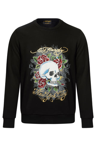 SKULL ROSE CREW SWEAT-BLACK