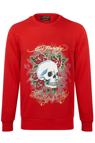 SKULL ROSE CREW SWEAT-RED