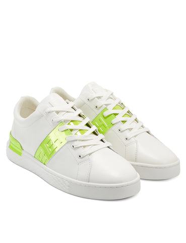 STRIPE LOW TOP-METALLIC-WHITE/LIME